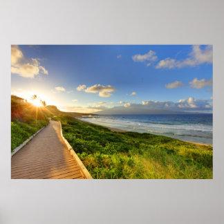 Trayectoria al sol. Playa de Oneloa. Maui Póster