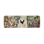 Trayectoria con los pollos, Klimt, arte Nouveau de Etiquetas De Remite