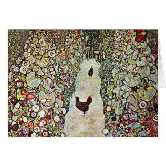 Trayectoria con los pollos, Klimt, arte Nouveau de Felicitaciones