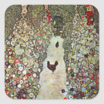 Trayectoria con los pollos, Klimt, arte Nouveau Calcomanía Cuadradas Personalizada