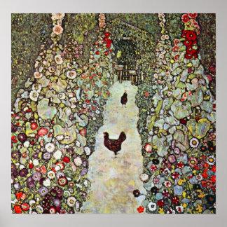Trayectoria con los pollos, Klimt, arte Nouveau Póster