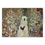 Trayectoria con los pollos, Klimt, arte Nouveau Felicitaciones