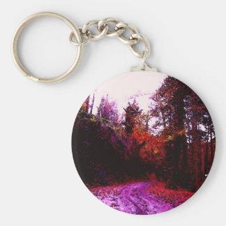 Trayectoria de bosque llavero redondo tipo pin