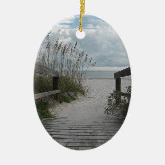Trayectoria de la playa de la Florida Adorno Ovalado De Cerámica