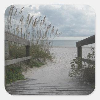 Trayectoria de la playa de la Florida Calcomanía Cuadrada