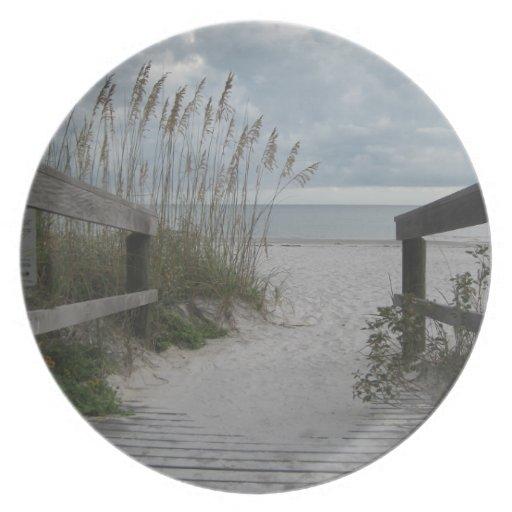 Trayectoria de la playa de la Florida Plato Para Fiesta