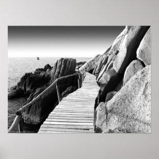 Trayectoria de madera Staggering en foto blanco Impresiones
