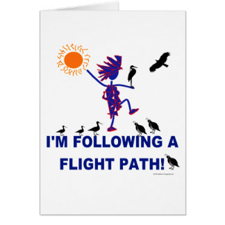 Trayectoria de vuelo de la observación de pájaros tarjeta de felicitación