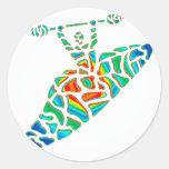 Trayectoria del alma del kajak etiqueta redonda