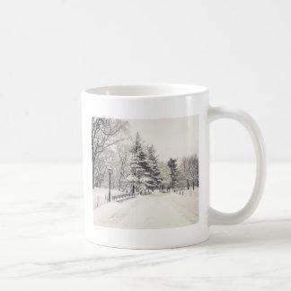 Trayectoria del invierno del Central Park - New Yo Tazas De Café