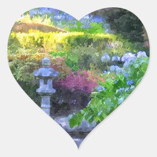 Trayectoria del zen pegatina en forma de corazón
