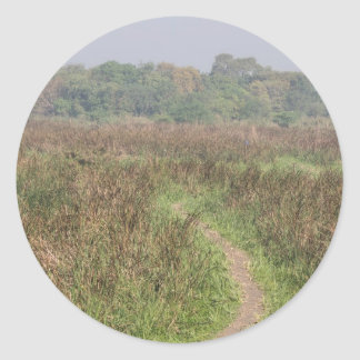 Trayectoria estrecha a través de la hierba alta pegatina redonda