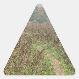 Trayectoria estrecha a través de la hierba alta pegatina triangular