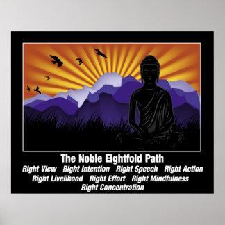 Trayectoria multiplicada por ocho noble Buda Póster