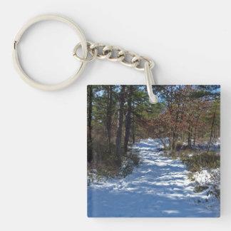 Trayectoria nevada del arbolado llavero cuadrado acrílico a doble cara