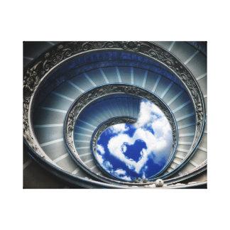 Trayectoria para amar - las escaleras espirales impresión en lona estirada