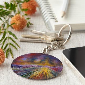 Trayectoria púrpura llavero redondo tipo pin