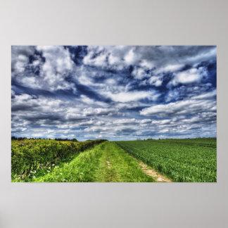 Trayectoria Skyscape HDR de la granja Póster