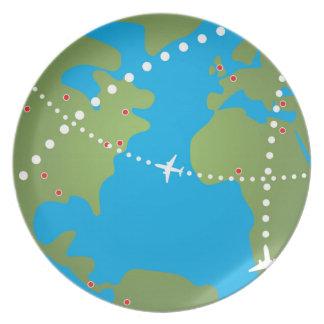 Trayectorias de vuelo del aeroplano platos de comidas
