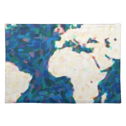 traza el mapa del mundo 2 del pointilism manteles individuales