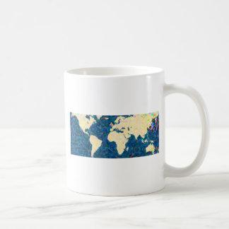 traza el mapa del mundo 2 del pointilism tazas