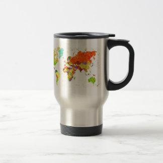 traza el mapa del mundo del pointilism con las hoj tazas de café