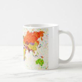 traza el mapa del mundo del pointilism con las hoj taza de café