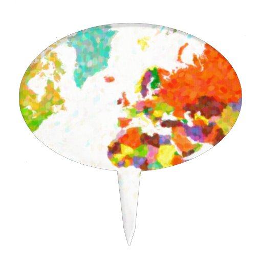 traza el mapa del mundo del pointilism figuras para tartas