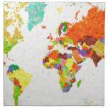 traza el mapa del mundo del pointilism servilletas