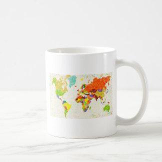 traza el mapa del mundo del pointilism taza de café