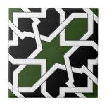 Trazado 09 de azulejo de geometría verde y negro