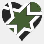 Trazado 09 de azulejo de geometría verde y negro pegatina en forma de corazón