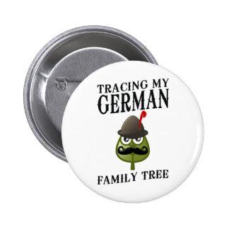 Trazado de mi árbol de familia alemán pin redondo de 2 pulgadas