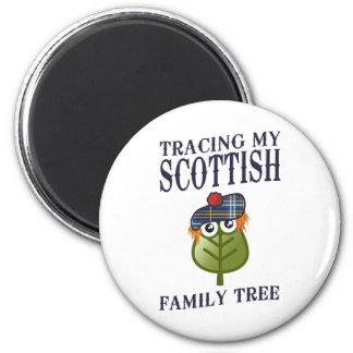 Trazado de mi árbol de familia escocés imán redondo 5 cm