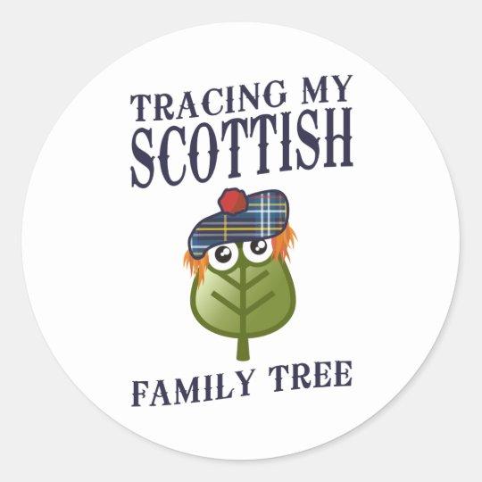 Trazado de mi árbol de familia escocés pegatina redonda
