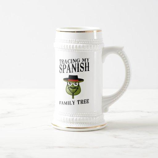 Trazado de mi árbol de familia español jarra de cerveza