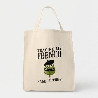 Trazado de mi árbol de familia francés bolsa tela para la compra