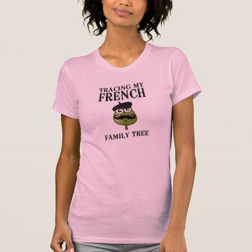 Trazado de mi árbol de familia francés camisetas