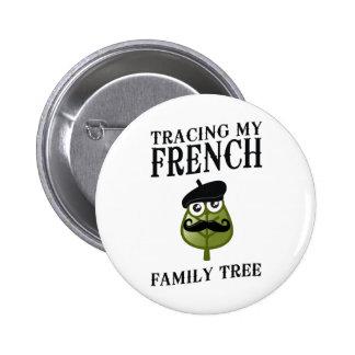 Trazado de mi árbol de familia francés pin redondo de 2 pulgadas