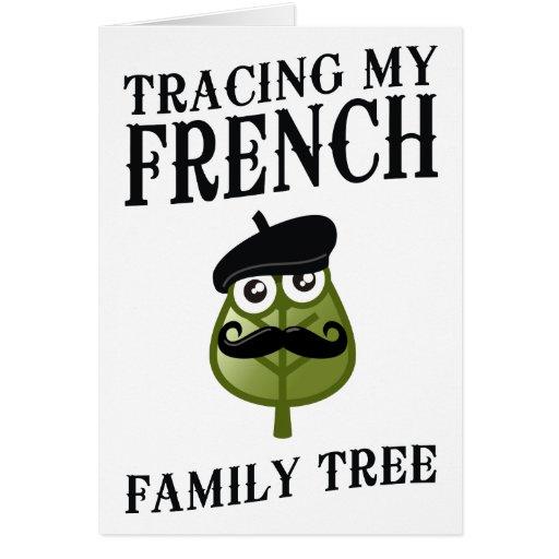 Trazado de mi árbol de familia francés tarjeta de felicitación