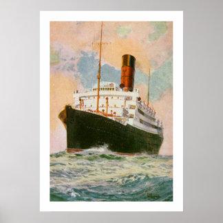 Trazador de líneas Ascania de Cunard en el mar Impresiones