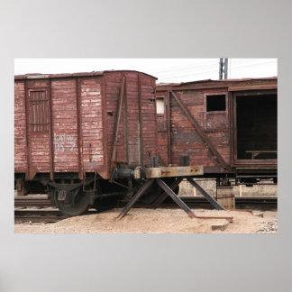 Trazador de líneas-trenes antiguos póster