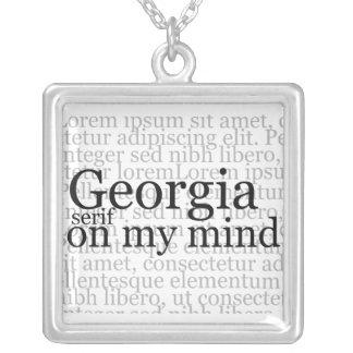 Trazo de pie de Georgia en mi mente Colgante Cuadrado