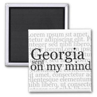 Trazo de pie de Georgia en mi mente Imán Cuadrado