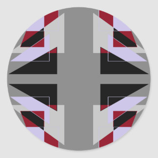 TRE 4 Triangles Abstract Grey Blue Red White Classic Round Sticker