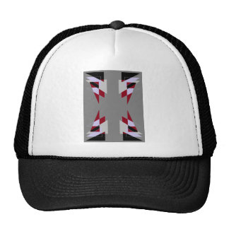 TRE 4 Triangles Abstract Grey Blue Red White Trucker Hat