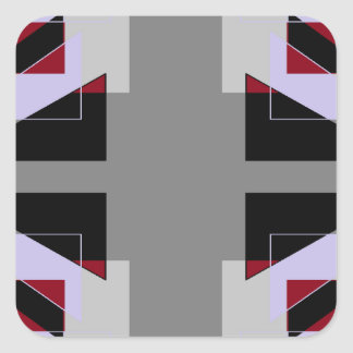 TRE 4 Triangles Abstract Grey Blue Red White Square Sticker