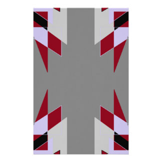 TRE 4 Triangles Abstract Grey Blue Red White Stationery
