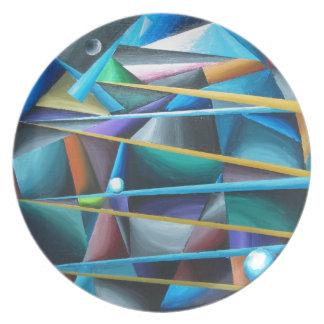 Treacherous Moons (colorful cubism) Party Plates