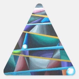 Treacherous Moons (colorful cubism) Triangle Sticker